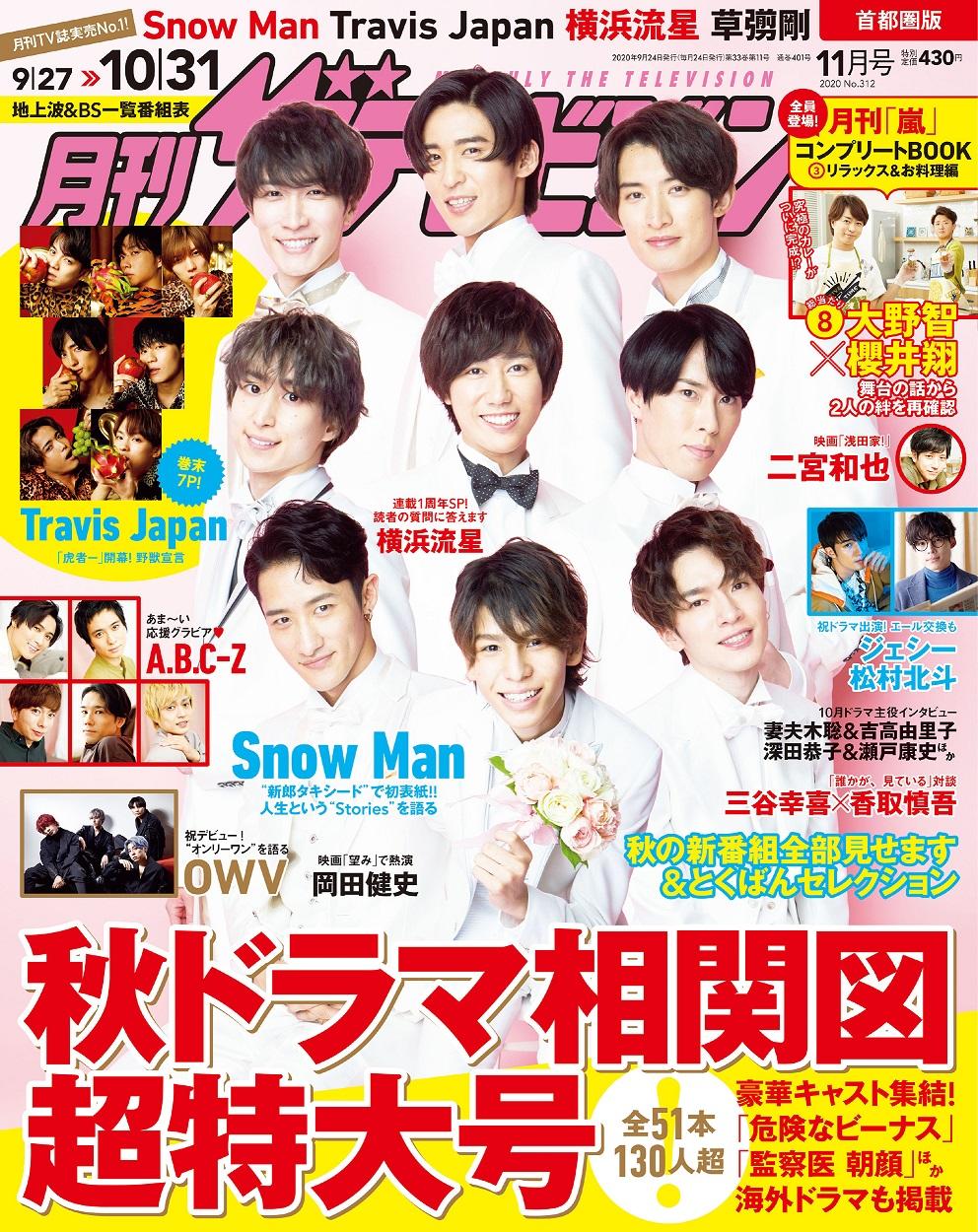 月刊ザテレビジョン 首都圏版 2020年11月号 430円